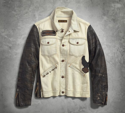 JACKET-1903,LEATHER SLEEVE,DENIM