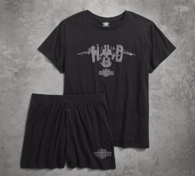 SET-TEE/BOXER,BLACK