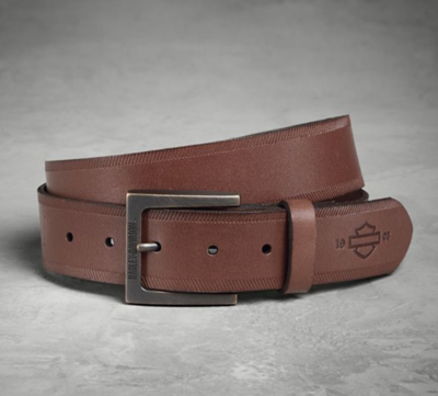 DEPOSSED LEATHER BELT