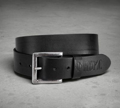 BELT-DEBOSSED,LEATHER BLACK