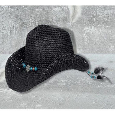 HAT-WOVEN,BEAD,FEATHER