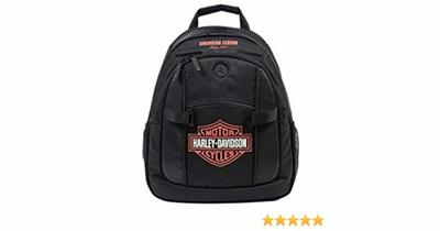 Bar & Shield Day Back Pack, Orange Logo, Black