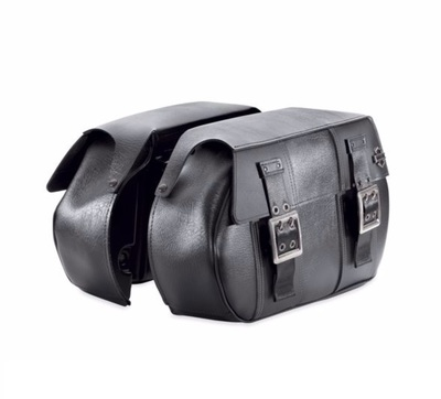 Black Distressed Leather Saddlebags