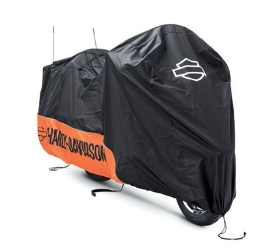 Indoor/Outdoor Motorcycle Cover-Orange/Black with Graphics
