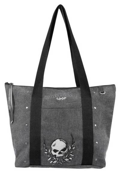 Womens Willie G Skull Distressed Denim Canvas Tote