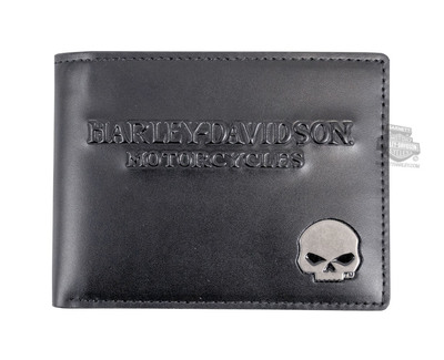 Mens Willie G Skull Billfold Black Leather Wallet