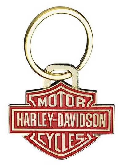 Harley-Davidson® 2D Die Struck Bar & Shield Keychain, Gold & Red Finish